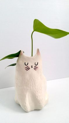 New Porcelain Ceramic Cat Planter / indoor planter / succulent planter / Ships July 2017