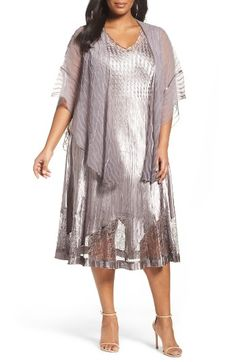 Free shipping and returns on Komarov Lace Inset Dress & Shawl (Plus Size) at Nordstrom.com. An artful mix of charmeuse and lace in a sophisticated neutral shade defines this enchanting V-neck dress for your next Big Event. The flattering A-line style is hand-pleated and heat-set for a forgiving stretch fit and travel-friendly ease. A floaty chiffon shawl completes the look.