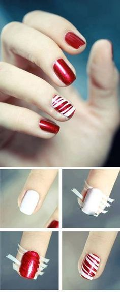 Christmas nails- perfect for accented ring finger. Just paint nails white, add strips of paper and paint over with red. Easy candy cane style.