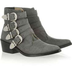 Toga Pulla Buckled suede ankle boots ($130) ❤ liked on Polyvore featuring shoes, boots, ankle booties, ankle boots, grey, flat, grey booties, pointed toe ankle boots, gray booties and gray bootie
