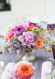 lilacs, peonies, tul