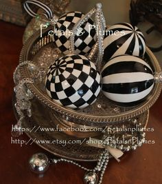 "Black & White Stripe Christmas- Halloween Ornament Rhinestone trim-Hand Painted- ""MADE to ORDER""- Size 3.25"" (Listing is for 1 Ornament). $11.95, via Etsy."
