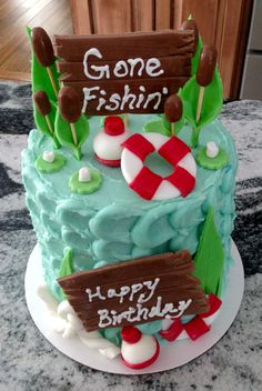 Gone Fishing Cake, Small cakes, Carrott Cake, Cream Cheese Frosting, Fondant work, Fishing Cake, Mens Cake, Mens Birthday Cake