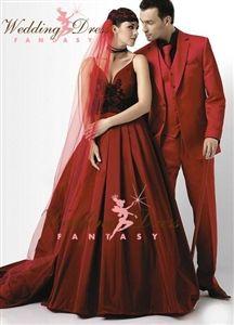 Vampire Red Blood Red Wedding Dress