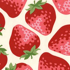 strawberry fabric - Japanese Cotton Fabric Kokka Trefle Huge Big Red Strawberries Off White Strawberry Flower, Strawberry Fields, Strawberry Shortcake, Zeta Tau Alpha, Tapestry Design, Japanese Cotton, Fruit Art, Color Inspiration, Painting Inspiration