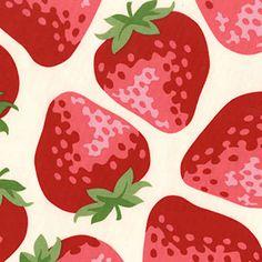 strawberry fabric - Japanese Cotton Fabric Kokka Trefle Huge Big Red…