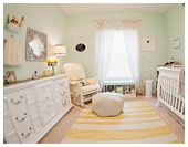 Kate's Lovely Yellow & Mint Green Nursery- LOVE the quote they included, vintage photos/baby dress, etc.