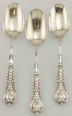 Tiffany Co 3pc Lot Sterling Silver Table Serving Spoons Florentine