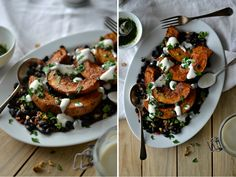 Roasted butternut squash with black bean walnut salad, yogurt and coriander