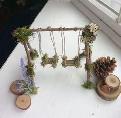 Garden Fairy Swing Handcrafted by Olive* ~ Terrarium Accessories, Fairy Swing, Miniature Garden,Forsythia Faer Mini Fairy Garden, Fairy Garden Houses, Fairy Crafts, Garden Crafts, Garden Projects, Terrarium, Fairy Garden Furniture, Garden Beds, Fairy Garden Accessories