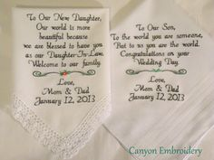 Embroidered Wedding Handkerchiefs Gift Daughter And Son Gifts From Parents By Canyon Embroidery On