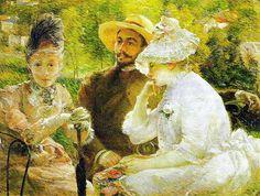 En la terraza de Sèvres (1880) fue pintado en el jardín de su casa, 1880, óleo sobre tela, 88 x 115 cm. Musée du Petit Palais. Geneva. Obra de de Marie Bracquemond