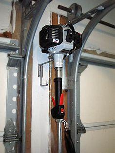 Image result for HOW TO STORE WEED EATER IN GARAGE Garage Shop, Garage House, Garage Ceiling Storage, Landscaping Equipment, Garage Organization, Garages, Weed, Home Appliances, Garage Ideas