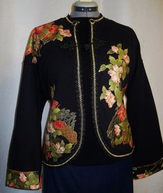 Women's Black Jacket Custom Floral Fabric Applique by paulagsell