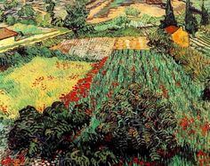 Vincent Van Gogh >> Field with Poppies  |  (Oil, artwork, reproduction, copy, painting).