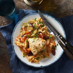 Slow-Cooker Mediterranean Chicken & Orzo Perk up basic chicken breast with the vibrant flavors of the Mediterranean, like lemon, olives and whole-wheat orzo. This load-and-go recipe makes a complete and satisfying meal; just add a green salad. Slow Cooker Recipes, Crockpot Recipes, Cooking Recipes, Healthy Recipes, Healthy Tips, Healthy Foods, Dump Recipes, Kid Recipes, Batch Cooking