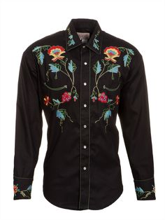 Rockmount Mens Black 100% Cotton L/S Western Shirt Multi Floral Gabardine
