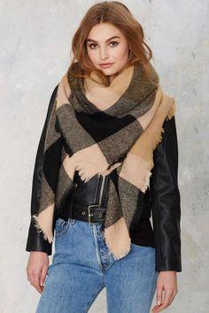 All or Nothing Plaid Blanket Scarf - Camel - Scarves + Gloves