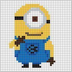 X stitch minion♪ Loom Beading, Beading Patterns, Crochet Patterns, Cross Stitch Designs, Cross Stitch Patterns, Cross Stitching, Cross Stitch Embroidery, Minion Pattern, Minion Christmas