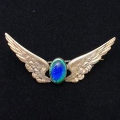 Wings Pin with Peacock Glass Cab Art Nouveau