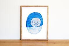 Illustrazione da scaricare subito con orso polare nella neve. Dipinto con acquerelli per camerette e nursery di IlluminoHomeIdeas su Etsy