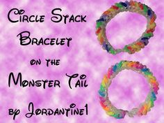 Circle Stack Bracelet made on the Monster Tail -Rainbow Loom Rainbow Loom Tutorials, Rainbow Loom Patterns, Rainbow Loom Bands, Rainbow Loom Bracelets, Loom Band Patterns, Loom Bracelet Patterns, Rubber Band Crafts, Rubber Bands, Monster Tail Bracelets