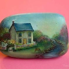 To join me on Facebook - https://www.facebook.com/KhachikYana #oil #painting #stones #paintedstones #handpainted #handmade #rock #paintedrocks #fairyland #khachikYana #arts_gallery #river #deer #house #fairy