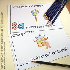 For French Immersion Emergent Reader - SA maison - en français Literacy Centres, French Immersion, Emergent Readers, Teaching French, School Stuff, Language, Student, Education, Learning
