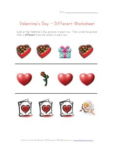 Valentine's Day Worksheet - Recognize Different Things   -  Pinned by @PediaStaff – Please Visit http://ht.ly/63sNt for all our pediatric therapy pins