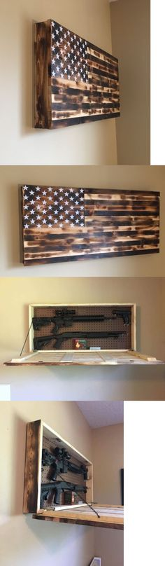 Cabinets and Safes 177877: Burnt American Flag Wooden Gun Rack Hidden Gun Cabinet Secret Compartment -> BUY IT NOW ONLY: $150 on eBay!