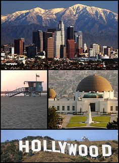 Von links oben nach rechts unten: Downtown Los Angeles, Venice, Griffith Observatory, Hollywood Sign