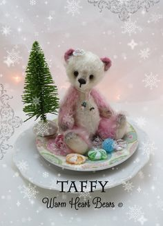 Taffy will be available for adoption beginning November 21, 2014 at the Christmas Treasures Online Bear show at http://www.teddiesworldwide.com/
