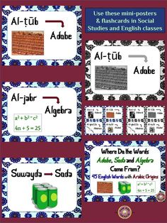 Here are 45 English words that have their origins in the Arabic language. Available in mini-poster and flashcard sizes, and in color and black-and-white.  Includes four ideas for using the product.  Suitable for many grade levels.  This is a great product to use when teaching about the Middle East and about word origins! $