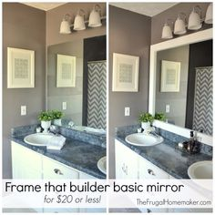 DIY Home Improvement Projects On A Budget - Frame A Builder Basic Mirror - Cool Home Improvement Hacks, Easy and Cheap Do It Yourself Tutorials for Updating and Renovating Your House - Home Decor Tips and Tricks, Remodeling and Decorating Hacks - DIY Projects and Crafts by DIY JOY http://diyjoy.com/diy-home-improvement-ideas-budget