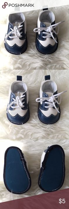 Baby Boy Suit Shoes New without tag, blue and white suit crib shoes for baby boys. Size 1. Price final unless bundled. Little Me Shoes Baby & Walker