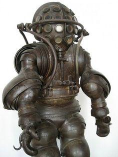 steampunk robot. metal art.