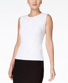 Calvin Klein Sleeveless Pleated Top, Regular & Petite | macys.com