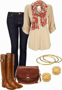Trendy Fall full outift! Button down shirt, scarf, Lily boots, Bangles, earrings, skinny demin, and bag