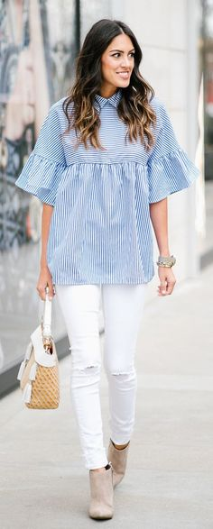 #spring #fashion Blue Striped Top & White Ripped Skinny Jeans Spring Fashion Outfits, Spring Summer Fashion, White Ripped Skinny Jeans, Grey Fur Coat, Cozy Winter Outfits, Long Sleeve Tops, Striped Shirts, Plus Fashion, My Style