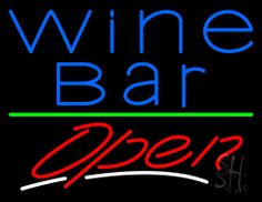 Blue Wine Bar Open Neon Sign 24 Tall x 31 Wide x 3 Deep, is 100% Handcrafted with Real Glass Tube Neon Sign. !!! Made in USA !!!  Colors on the sign are Blue and White. Blue Wine Bar Open Neon Sign is high impact, eye catching, real glass tube neon sign. This characteristic glow can attract customers like nothing else, virtually burning your identity into the minds of potential and future customers.