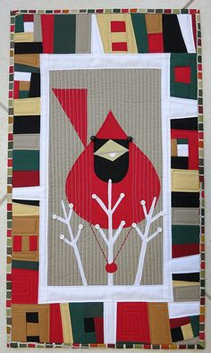 Charley Harper cardinal Christmas quilt by Carol Charley Harper, Small Quilts, Mini Quilts, Quilting Projects, Quilting Designs, Vogel Quilt, Bird Quilt, Quilt Modernen, Quilt Border