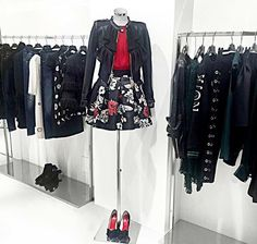 "Feminine silky flowers and play of color contrasts with red and black, create a sprint day to evening look!  Leather jacket ""Clara"", red blouse ""Hemsbach"" and flowers printed skirt ""Plaisir"" >> available in our store in Via Santa Maria 35, Desenzano del Garda and online: www.mangano.com"