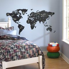 Kids Wall Decals: World Map Chalkboard Decal - World Map Chalkboard Decal