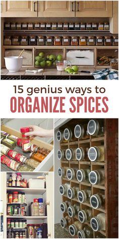 15 Genius Ways to Organize Spices and Save Cabinet Space is part of Spice Organization Small Space - Do your spices fall out of the cabinet when you're looking for one Use these 15 clever ways to organize spices as inspiration to get yours sorted! Kitchen Organization Pantry, Spice Organization, Kitchen Storage, Organized Kitchen, Kitchen Drawers, Organizing Tips, Bathroom Organization, Kitchen Cabinets, Diy Kitchen