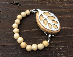 Natural Wood Mala bead bracelet for the Silver LEAF by LadyLeafCo
