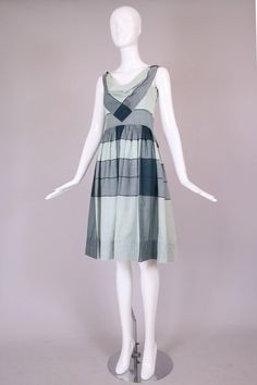 Vintage Claire McCardell Graphic Cotton Day Dress w/Cowl Neck 3