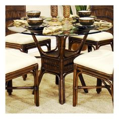 ... 5 Piece Dining Set. The Sophornitella Collection Is One Of Our Fine  Rattan And Bamboo Groups.