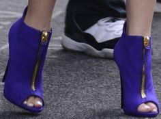 A closeup of Zendaya Coleman's bright purple Giuseppe Zanotti peep-toe booties