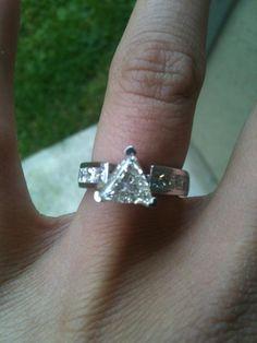 Trillion Cut Diamond in a custom made band love him! Trillion Ring, Trillion Engagement Ring, Diamond Engagement Rings, Unique Diamond Rings, Diamond Wedding Rings, Unique Rings, Ring Designs, Fashion Rings, Lockets