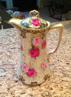 Nippon Chocolate Pot Cobalt Heavy Gold with Pink Fuschia Roses Throughout |